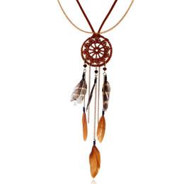Indische ethnische halskette online-Indischer Schmuck Lange Traumfänger Anhänger Halsketten Für Frauen Doppelschicht Samt Halskette Indischen Schmuck Ethnische Feder Pullover Kette