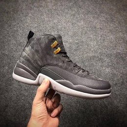 Wholesale Fast Mid - Fast Shipping 2017 High quality air retro 12 high Midnight Dark Grey men Basketball Shoes retro 12s Sports shoes Sneakers US 8-13