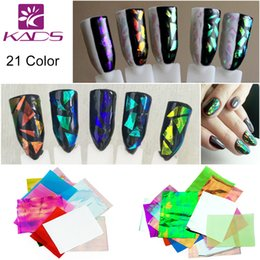 Wholesale Glass Mirror Nail - Wholesale-21 Colors set 3D Holographic Broken Glass Foils Finger Nail Art Mirror Stickers Glitter Stencil Decal DIY Manicure Design Tools