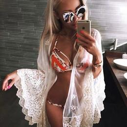 Wholesale Sunscreen Lace - Beachwear for Women 2017 Women Lace Embroidered Sexy Beach Blouse Cardigan Sunscreen Shawl Pashmina Bikini Coverup