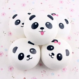 Wholesale Girl Panda - Cute Panda Elastic PU Jumbo 10CM Colossal Squishy Cream Scented Slow Rising Mobile Phones Straps Bag Pendant CCA7049 50pcs