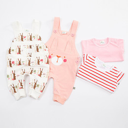 Wholesale Overalls T Shirts - Girls Rabbit print overalls 2pc set Long sleeve T shirt printing bib pants Infants cute jumpsuit set for 1-3T baby easter outfits