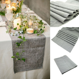 Wholesale Rustic Table Runners - 30x275cm Gray Burlap Table Runner Natural Jute Imitated Linen Rustic Decor Wedding Hessian Tablecloth Party-L1