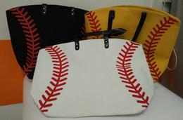 Wholesale Usa Volleyball - new 5pcs USA black & white &yellow Blanks Cotton Softball Tote Bags Baseball Bag Football Bags Soccer ball Bag with Hasps Closure Sports Bag