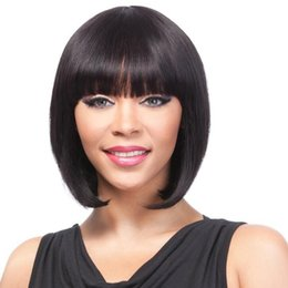 Wholesale Black Short Hair Styles - Fashion bob style wig simulation brazilian human hair wigs silky straight short bob style wigs with bang natural color for black women
