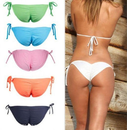 Wholesale Pink V Thong - Sexy Women's Bikini Thong Bottom Brazilian V Cheeky Ruched Swimwear Beach T-Back Swimming Trunks 6 Colors S-XL