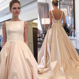Wholesale Cheap Wedding Dresses Fast Shipping - Graceful Vestido De Novia Boat Neck Lustrous Satin 2017 Vintage Wedding Dresses Chapel Train Fast Shipping Cheap Bride Gowns Hot