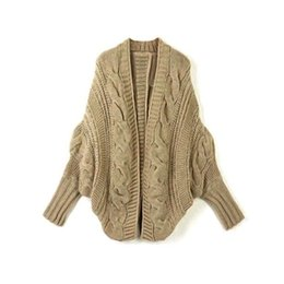 Wholesale Long Sleeve Crochet Tops - Wholesale-2015 Women Crocheted Sweaters Fall Casual Loose Comfort Cardigans Sweaters Batwing Sleeve Solid Color Tops Free Size 5 Colors