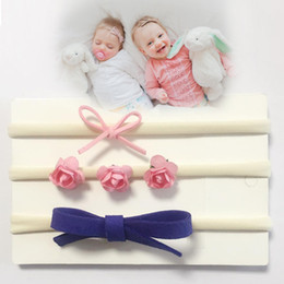 Wholesale Rose Kids Headband - Boutique Felt Headband Set (3PCS) Nylon Rose Elastic Soft Flower Headbands For Kids Girl Toddle Birthday Gift