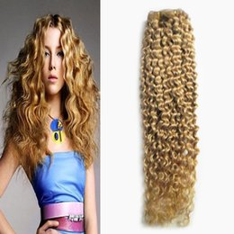 Wholesale Brazilian Blond Weave - Honey blond brazilian hair weave 1 bundles Non-Remy 100g unprocessed brazilian kinky curly virgin hair weaves double weft