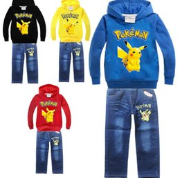 Wholesale Lolita Hoodie - cker cartoon POKE GO Costume fashion 100-140cm long sleeve hoodies +jean pant set kid children's spring autumn outwear clothing set