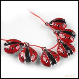Wholesale Ladybug Charms Wholesale - Wholesale-60pcs lot Beautiful Red Enamel Ladybird Pendant Cute Zinc Alloy Animal Charm Ladybug Pendant 140209
