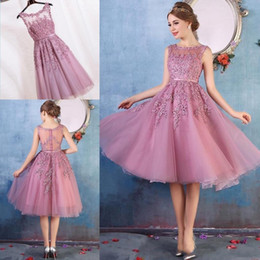 Wholesale Vintage Lace Pink Bridesmaid Dress - Real Pictures 2017 New Arrival Short Prom Dresses 4 Colors Dark Navy Black Pink Red Knee Length Lace Applique Illusion Back Cocktail Dresses