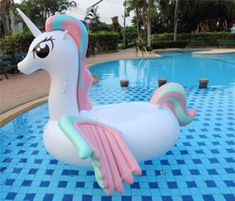 Wholesale Riding Horses Toys - DHL Fedex Ship Adult's Summer Inflatable Floats Tubes Swim Ride-On Pool Beach Toys Inflatable Water Sports Swimming Floating Rainbow Horse