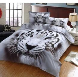 Wholesale Tiger Print Quilt Cover - 3D White Tiger 100%Cotton Duvet Cover Set 4PC Quilt Cover Flat Sheet Pillowcase full queen size
