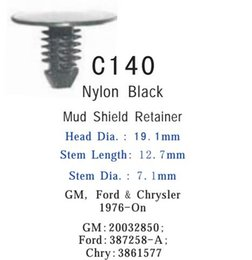 Canada Automotive Auto Plastic Clip Fastener pour voiture Nylon Black Mud Shield Retainer GM 20032850 FORD 387258A CHRY 3861577 Offre