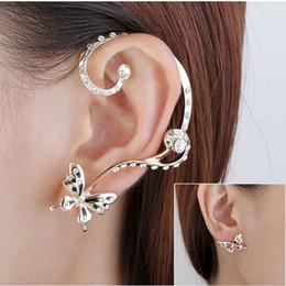 Wholesale Studs Butterfly Backs - 1 Pair Modish Nice charming Women Butterfly Ear Cuff Clip Stud Crystal Rhinestone Earring fine jewelry