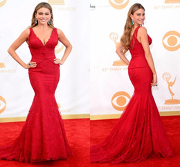 Wholesale Evening Gowns Emmy - Deep V Neck All Red Mermaid Evening Dresses Lace Sexy Celebrity Dress Sofia Vergara Emmy Awards 2017 Red Carpet Gowns Designer Custom Made