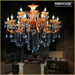 Wholesale Crystal Floral Chandelier Lighting - Modern 18 Arms Chandeliers Crystal Light Fixture Rose Gold Floral Crystal Lustre Lamp With Top K9 Crystal For Hotel Aisle Hallway Porch Lamp