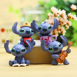 Wholesale Lilo Stitch Figures Set - 4pcs set Kids Toys Mini Anime Cartoon Lilo & Stitch PVC Action Figures Toy For Children Gifts Model Toy