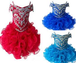 Wholesale Diamond Pageant Dresses - Wholesale New 2017 Gorgeous Diamond Glitz Girls Natioanl Pageant Cupcake Dresses Infant Tutu Gowns Toddler Baby Girls Ruffled Mini Pageant D