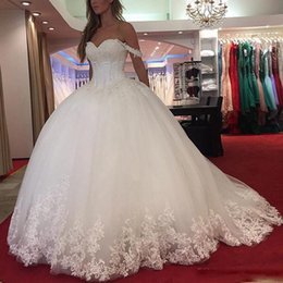 Wholesale Fall Flowers Photos - Wedding Dress Real Photo Vestido De Noiva Manga Longa 2017 Off Shoulders Princess Ball Gown Wedding Dresses