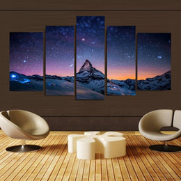 Wholesale Canvas Paintings Sky - 5pcs set Unframed Mountain Top Stars All Over The Sky Oil Painting On Canvas Wall Art Painting Art Picture For Home Decor