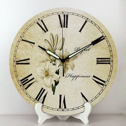 Wholesale Led Wall Watches - Wholesale-wholesale 12'' fashion 3d flowers living room decor desktop clocks more quiet wall decor clocks modern home watch wall gift