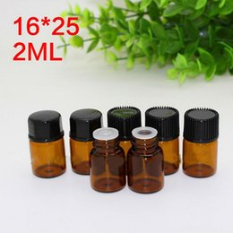 Wholesale Wholesale Personal Care Products - Hot Products 2ml small glass vials sample dropper bottles 2ml Amber Glass bottles Wholesale With black screw cap DHL Free Shipping