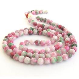 Wholesale Jade Beads Mm - 8 mm Pink Green Jade Tibet Buddhist 108 Prayer Beads Mala Necklace