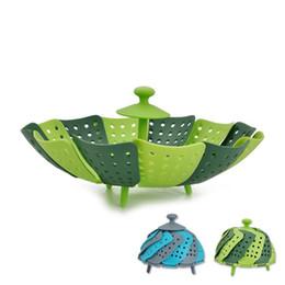 Wholesale wholesale fruit baskets - Silicone Vegetable Steamer Foldable Fruit Basket Multi Function Home Kitchen Tools For Multicolor Optional 6 8yj C R