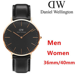 Wholesale Top Lady Nude - 2017 top luxury brand Daniel women men watches fashion Leather Nylon 40 36mm rose gold mens lady watches relojes