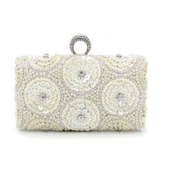 Wholesale Rhinestone Box Purses - Wholesale- White Pearls Beaded Floral Bridal Purses Clutches diamonds Champagne beading knuckle box Rhinestones wedding clutch bag XA157YL