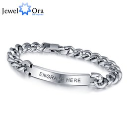 Wholesale Personalized Silver Charms - Personalized Engrave Silver Men Bracelet Fashion Titanium Steel Bracelets & Bangles For Men ( BA101336) 17401