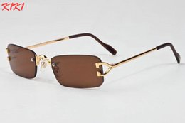 Wholesale Optics Glasses - 2017 New Fashion Gradient Rimless Sunglasses For Women Oversized Clear Lens Optics Metal Frame Vintage Buffalo Sun Glasses For Men Eyewear