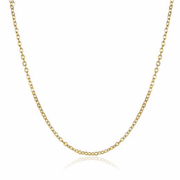 Wholesale 14k Rose Gold Chain Necklace - High Quality 18K Gold Plated Rolo Chains Necklaces Fashion 1.5MM 18 inch DIY Pendant Brass Necklace fine Jewelry for women girls