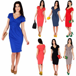 Wholesale Pencil Dresses For Sale - Hot Sale 8 Colors for 2017 Summer Women Sexy V Neck Peplum Short Sleeve Pleated Knee Length Party Badycon Dresses