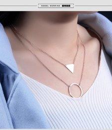 Wholesale Triangle Heart Necklace - hot sale Fashion women necklace jewelry Simple classic o chain creative titanium steel rose gold circular triangle pendant collar choker
