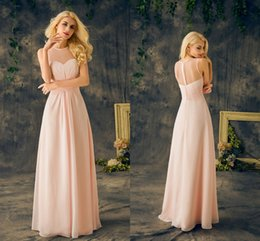 Wholesale Cheap Baby Fall Dresses - 2017 Baby Pink Bridesmaids Dresses Real Sheer Round Neck Sleeveless A Line Long Chiffon Junior Cheap Maid Of Honor Dresses For Wedding