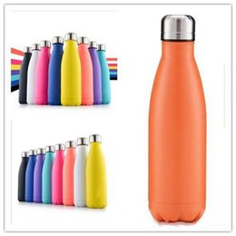 Wholesale Thermals Wholesale Usa - CA USA UK Free 17oz 500ml Cola Shaped Bottle Insulated Double Wall Vacuum high-luminance Water Bottle Creative Thermos bottle Coke cup