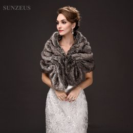 Wholesale Warm Bridal Bolero - Gray Brown Faux Fur Bridal Wraps Winter Warm Jackets for Women Formal Party Dress Accessories Bolero Women