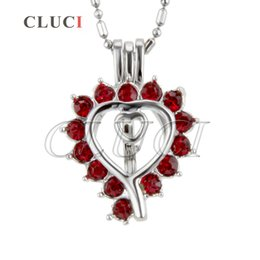 Wholesale Red Locket - Fashionable of Silver-Plated Love Heart with Red Zircon Cage Pendant 9*12*24mm