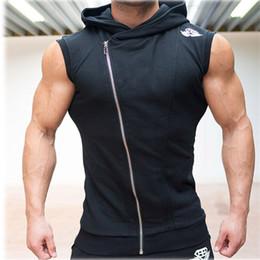Wholesale Men Slimming Singlet - Wholesale- 2016 New Men Hoodie Brand Sweatshirts Fitness Workout Sleeveless Tees Shirt Cotton Vest Singlets Hooded Undershirt