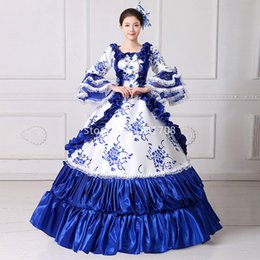 Wholesale century length - 18 Century Europe Palace Style Square Collar Long Flare Sleeve Blue Ruffles Floor-Length Marie Antoinette Dresses For Women