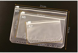 Wholesale File Standards - Wholesale- A5 A6 A7 File Holder Standard 6 Holes Transparent PVC Loose-Leaf Pouch With Self-Styled Zipper Filing Product