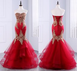 Wholesale Sheath Column Dresse - Red Applique Mermaid Custom Made Lace-up Strapless Floor Length Tulle Vintage Sexy Evening Dresse 2017 Elegant Evening Gowns
