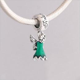 Joyería genuina pandora online-Genuina 925 encantos de plata de ley esmalte verde de hadas del vestido cuelga el encanto de los granos Fit Pandora pulsera del collar de la joyería que hace bricolaje