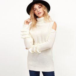 Wholesale Elegant Fashion Sweater - 2017091902 Women Sweet Turtleneck Off Shoulder Sweater Winter Long Sleeved Solid Female Pullover Fashion Woman Casual Elegant Knitted Wear