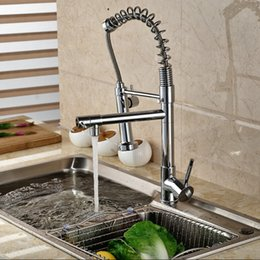 Wholesale Single Lever Mixer Kitchen Faucet - Wholesale- Wholesale And Retail Single Lever Spring Pull Down Kitchen Sink Faucet Dual Sprayer Hot And Cold Kitchen Mixer Taps