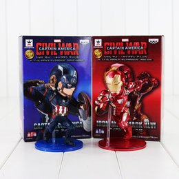 Wholesale Ironman Toys Figures - 12cm The Avengers Cute Mini Captain America Ironman PVC Action Figure Collectible Model Toy Christmas Gifts For Children